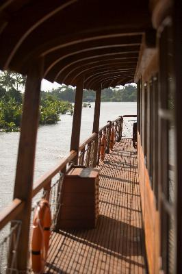 Upper deck gangway on Măng Thít river