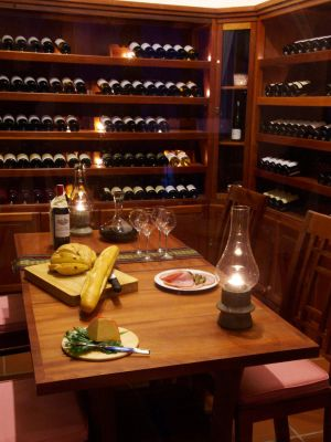 The wine cellar at l'Escale
