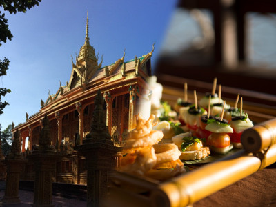 [image] Khmer pagoda and a snack on board