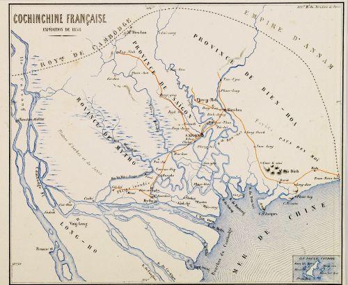 Expédition de 1858: Carte des rivières de la Cochinchine française