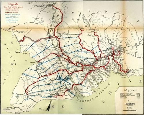 Carte des voies d'eau locales et coloniales, 1910