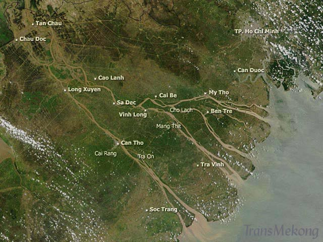 Satellite view of the delta, (c) NASA, TransMékong