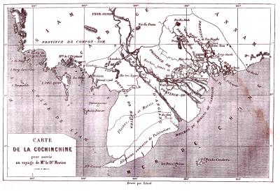 Une carte du delta de 1875 qui présente le canal de Vĩnh Tế.