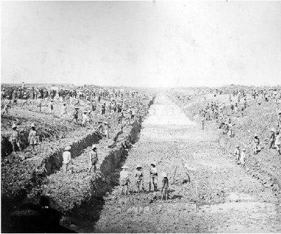 Le chantier du canal de Chợ Gạo --le canal du marché au riz, alors appelé canal Duperré, 1876-1877