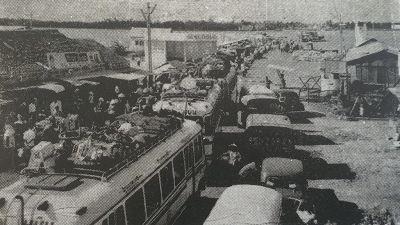Cảnh kẹt xe ở bến phà Mỹ Thuận đầu thập niên 1960, Ảnh tư liệu báo Tiền Giang