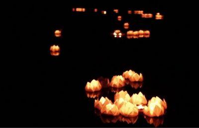 Lanternes flottant sur la rivière