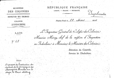 Report to the Minister on the operations of the Messageries, 1914